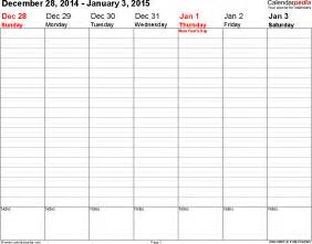 Free Weekly Calendar Template 2015 by Weekly Calendar 2015 For Excel 12 Free Printable Templates