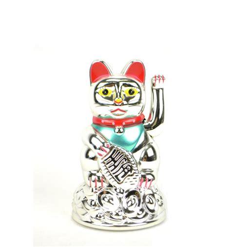 acheter chat japonais maneki neko argent 233 porte bonheur