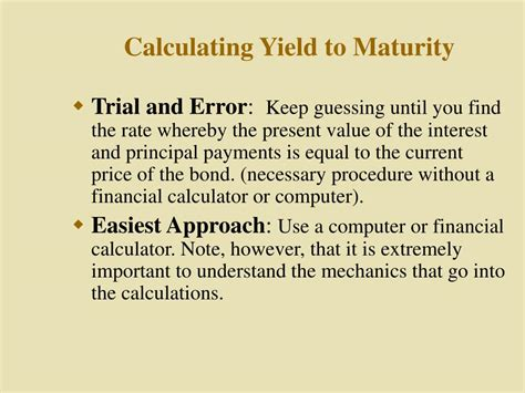 calculator yield to maturity ppt valuation and rates of return chapter 10