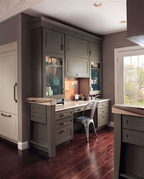 using kitchen cabinets for home office kraftmaid built in desk for the home pinterest