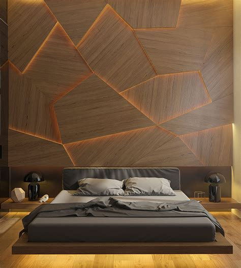 bed back wall design this bedroom has a geometric back lit wood accent wall