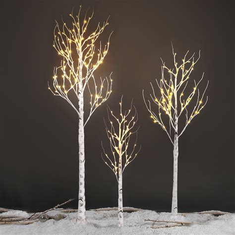 decorative tree branches with lights 120led 2 1m 7ft silver birch twig tree light decorative