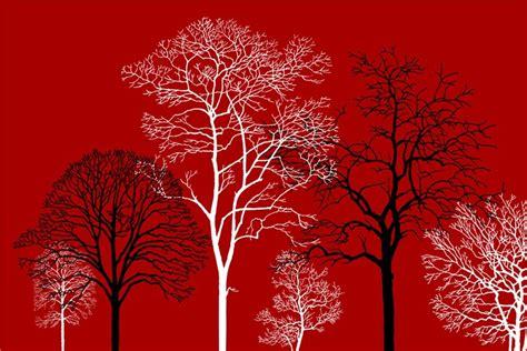 wallpaper merah hitam 3d pvc hitam dan putih pohon desain beauiful digital kustom