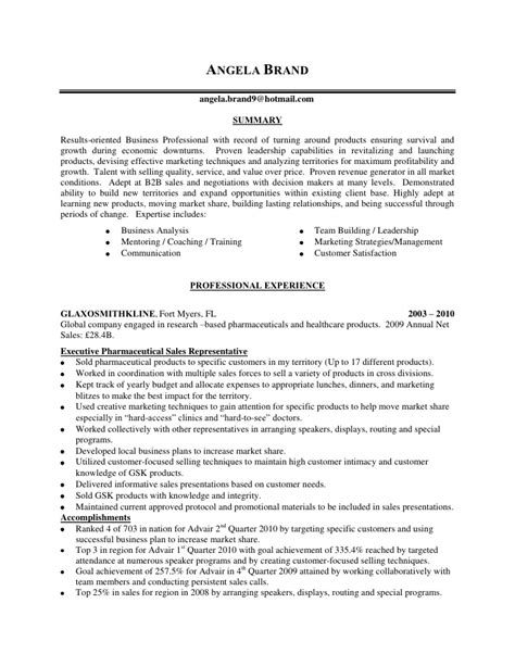 sle of resume with experience angela brand sales resume