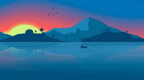 minimalist mountains minimalist beach boat mountains sunset birds 8k artist