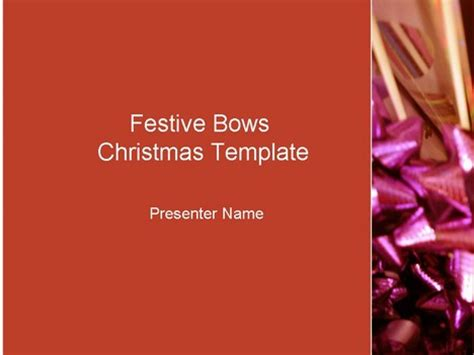 Festive Red Bows Template Festive Powerpoint Templates