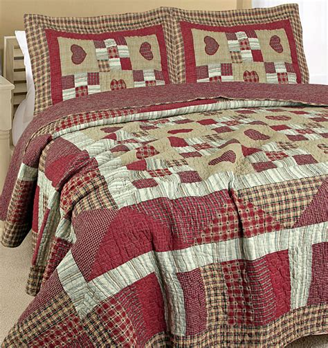 Patchwork Bedding - amish wine embroidered hearts cotton patchwork