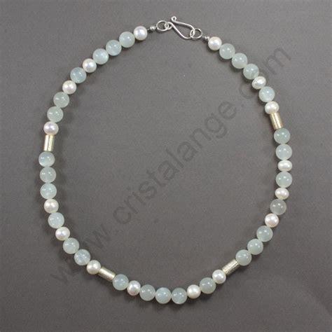 Collier pierre de lune et perles Danitza   bijoux lithothérapie pierre blanche   cristalange