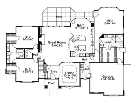 one story ranch house floor plans one story brick house