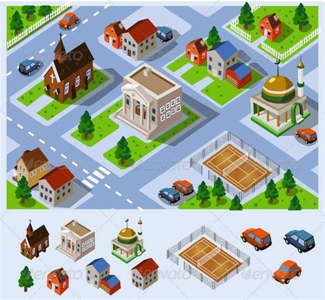 create a building map map of city set of detailed isometric vector