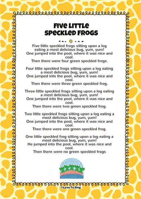 printable rap lyrics five little speckled frogs free video song lyrics