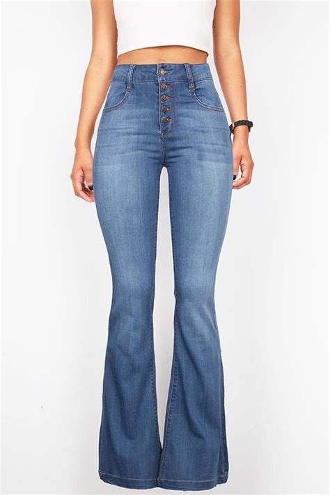 jeans swing com vintage high waist flared bell bottom button fly jeans 70s