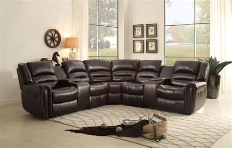 brown reclining sectional palmyra dark brown reclining sectional 8411 2r homelegance