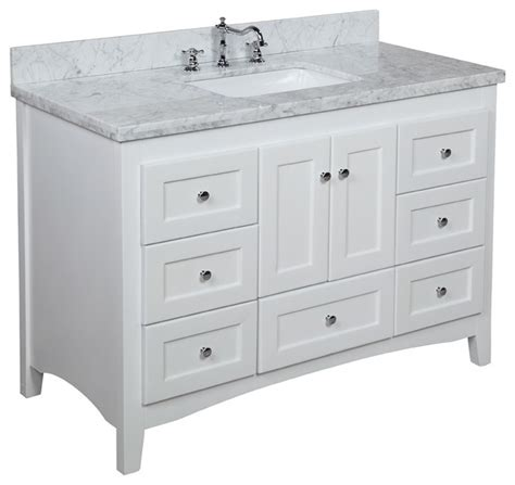 Vanities White by 48 In Bath Vanity Carrara White Traditional