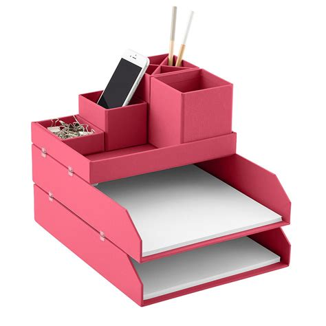pink desk organizers bigso pink stockholm desktop organizer the container store