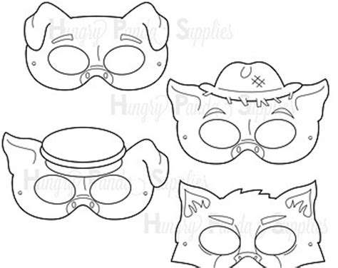 printable wolf mask black and white printable wolf mask etsy