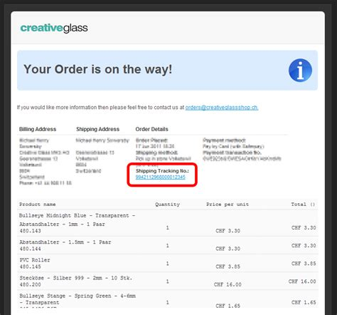 track order number creative glass switzerland delivery information