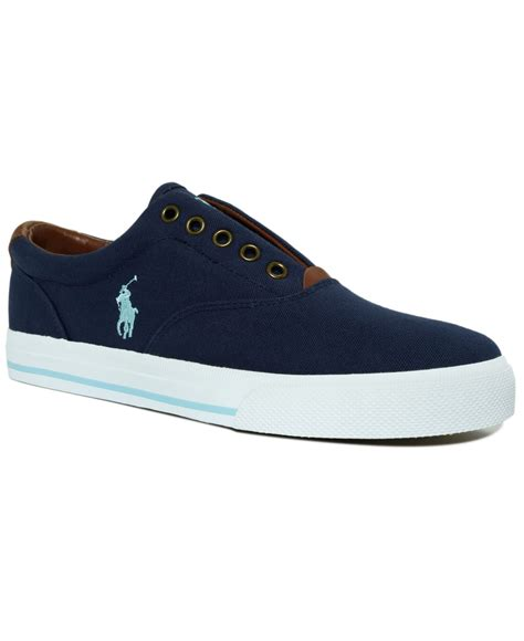 s laceless sneakers polo ralph vito laceless canvas sneakers in blue