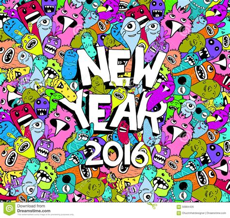 doodle new new year 2016 doodle colorful background stock