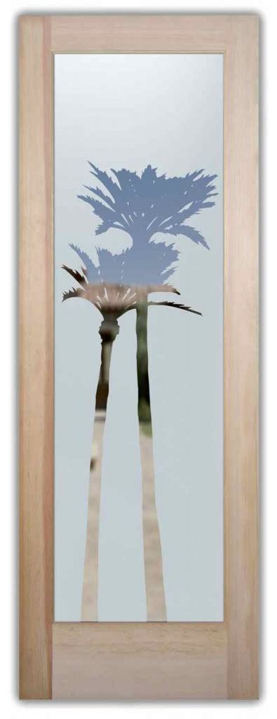 palm trees frosted  glass doors sans soucie art glass