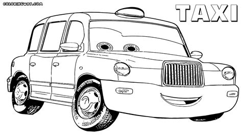 taxi car coloring page the helpful taxi colouring pages picolour