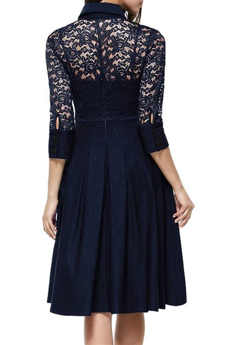kettymore collar style slim waist halter skirt lace