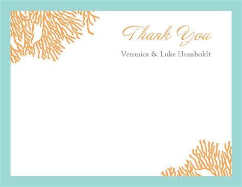 a2 thank you card template coral thank you card