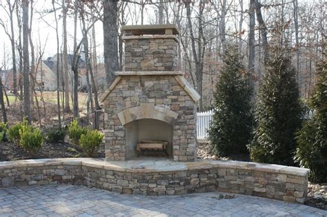 Outdoor Stacked Fireplace With Hearth Fireplaces Outdoor Stacked Stone Fireplace With Hearth And Seating