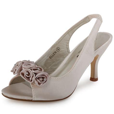 bridesmaid shoes ivory diamante backstrap womens wedding