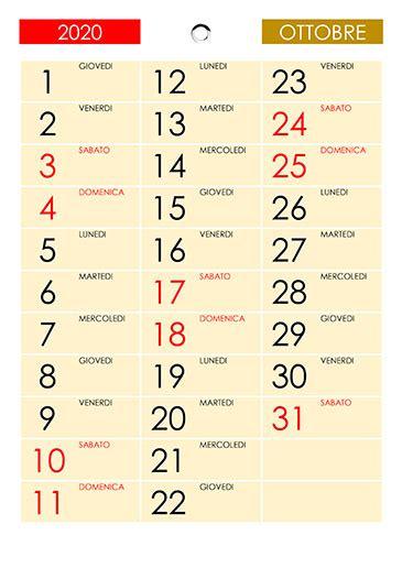 calendario ottobre  calendariosu