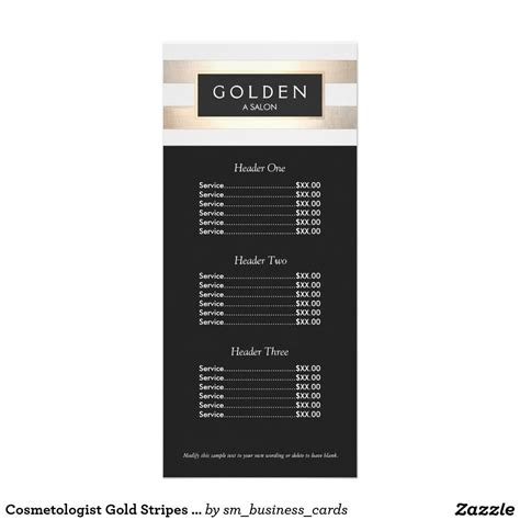price card template cosmetologist gold stripes hair salon a price menu gold