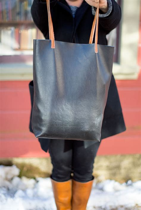 faux leather tote bag allfreesewing