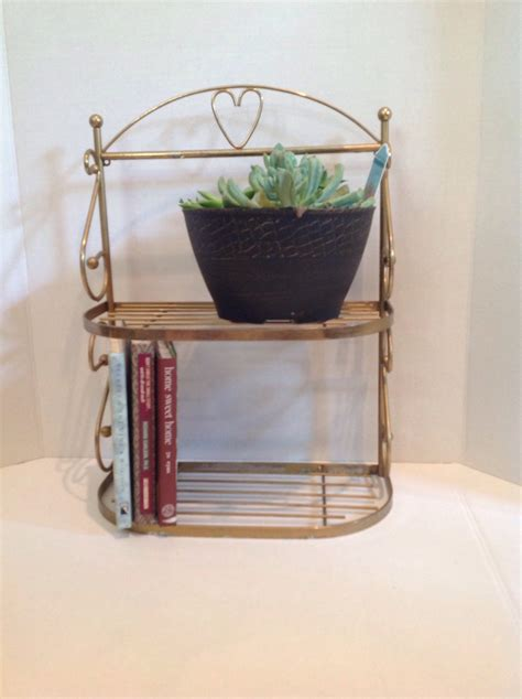 Antique Metal Shelf by Vintage Metal Countertop Shelf Shabby Chic 2 Tiered