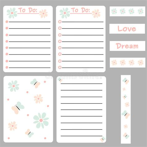 Journaling Cards Template by Colorful Set Of Printable Template For Cards Notes