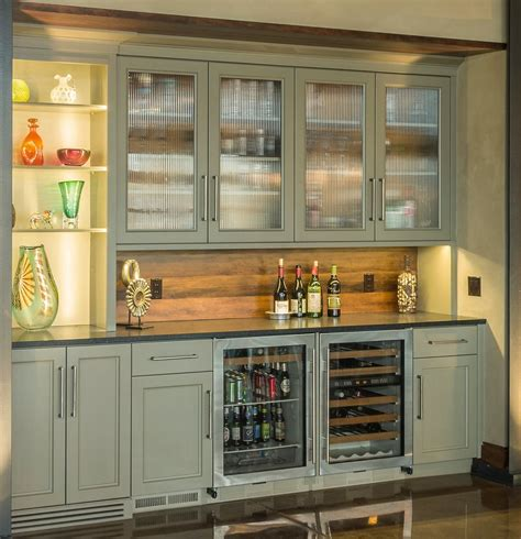 wet kitchen cabinet wine bar with wood backsplash olive cabinets clear view