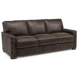 rustic leather sofa flexsteel lomax rustic leather sofa with nailhead details
