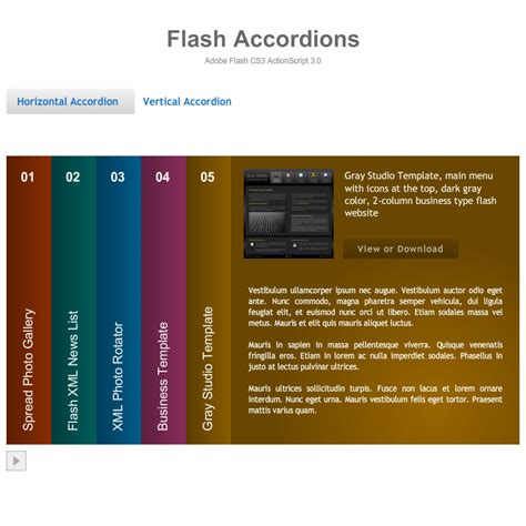 free flash templates flash template 187 accordion