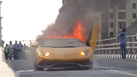 Lamborghini Burning Lamborghini Aventador Bursts Into Flames
