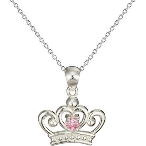 disney princess pink cz crown sterling silver pendant 18