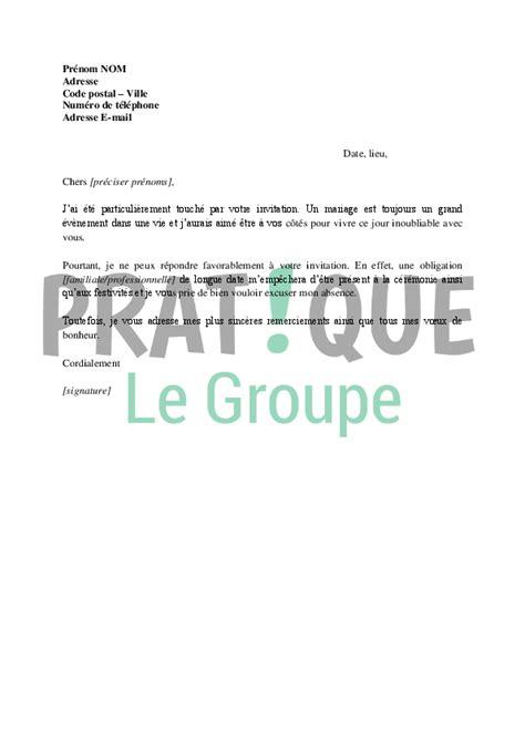 Exemple De Lettre D Invitation à Un Buffet lettre d excuses en r 233 ponse 224 une invitation 224 un mariage