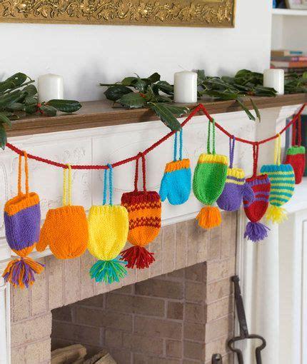 knitting pattern christmas garland bright hats and mitts garland free knitting pattern from