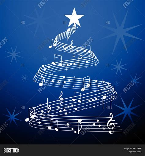 musical tree musical tree blue stock vector stock