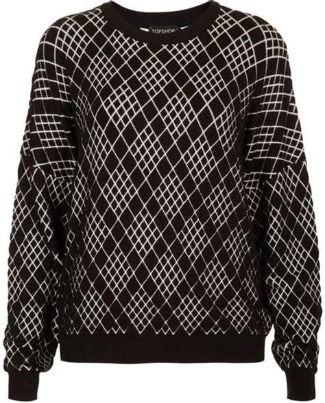diamond pattern knit sweater topshop diamond pattern knit sweater in multicolor black