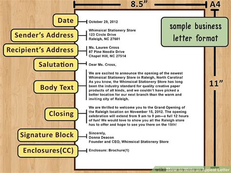 A Business Letter Has Six Parts Instead Of Five how to write an appeal letter with pictures wikihow