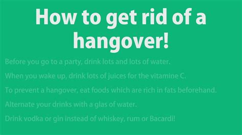 how to get how to get rid of a hangover fast and easy by howtoridof