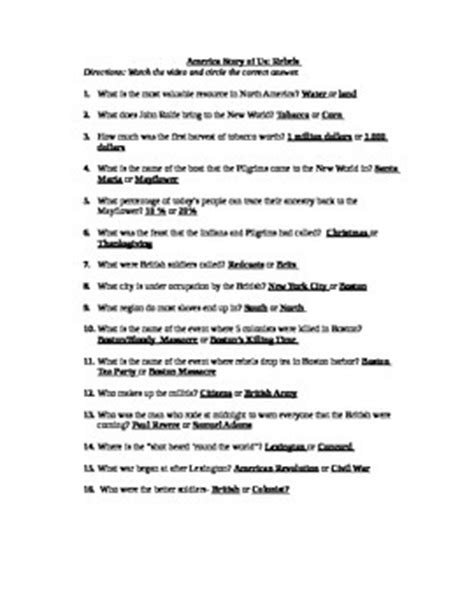 America The Story Of Us Rebels Worksheet by America Story Of Us Rebels Listening Guide American Revolution
