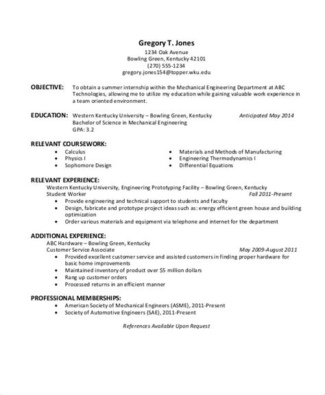 resume format for internship for mechanical engineering 37 engineering resume exles free premium templates