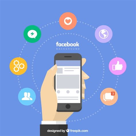 facebook layout vector free download facebook background with mobile and icons vector free