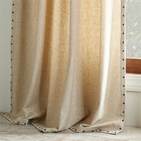 oatmeal curtains studded wool curtain heathered oatmeal west elm