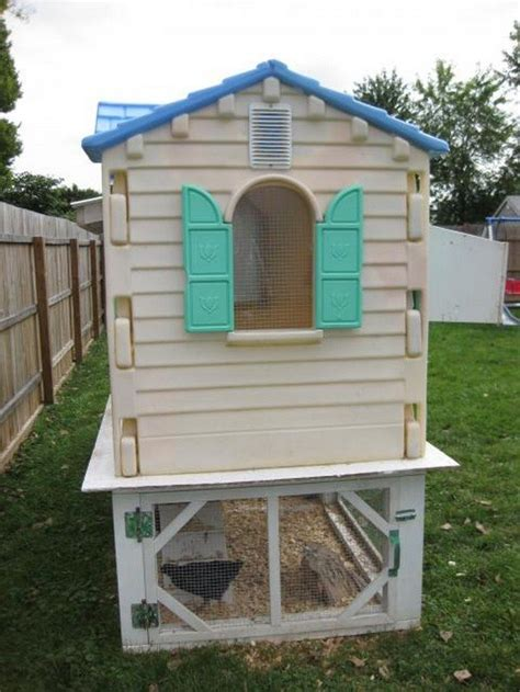 Cheap Easy Backyard Ideas Turn An Old Playhouse Into A Chicken Coop Diy Projects